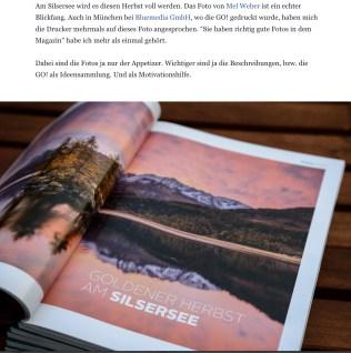 Gastbeitrag im GO-Magazin mit meinem Bild vom Silsersee...