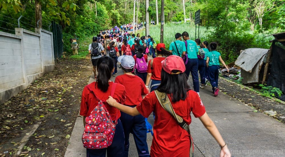 Hiking the monk's trail up Doi Suthep is popular with local high school students.