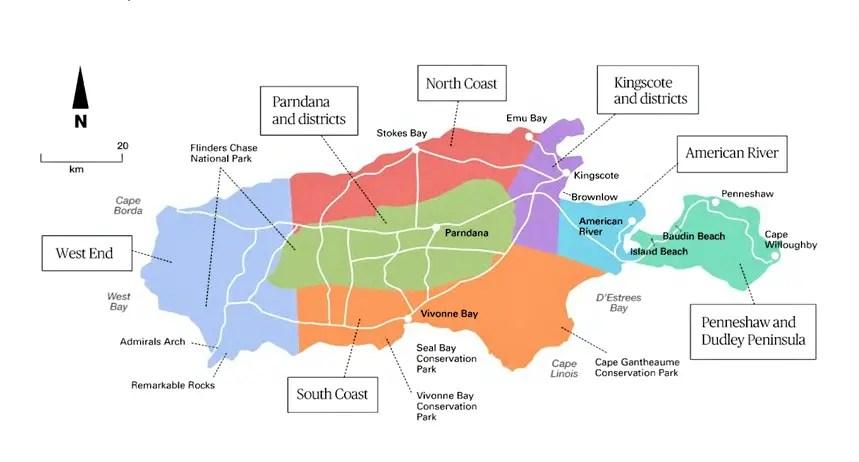 Mapa siete regiones de Kangaroo Island