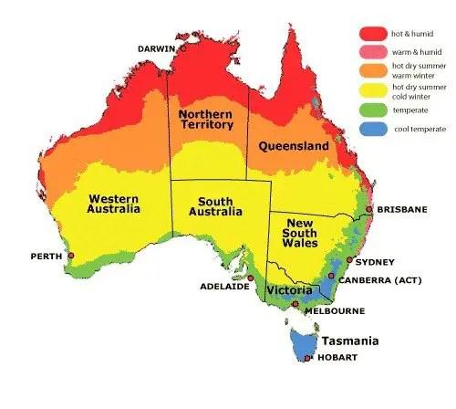 Mapa con los diferentes climas de Australia