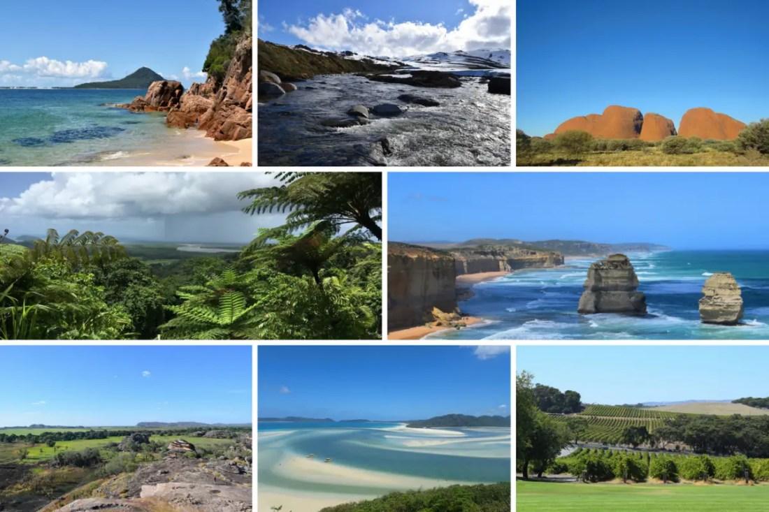 cómo es Australia. Variedad de paisajes collage
