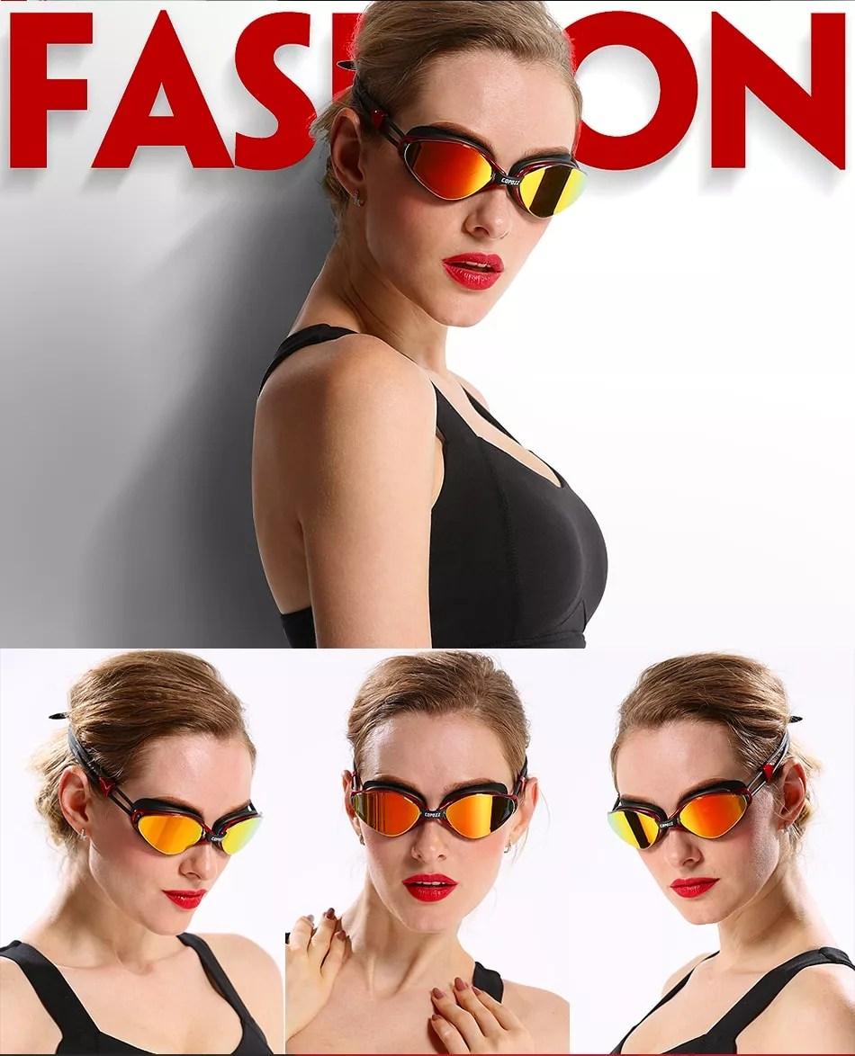 Gafas de natación profesionales antivaho con revestimiento ajustable UV para hombres y mujeres, gafas de natación de silicona impermeables para adultos