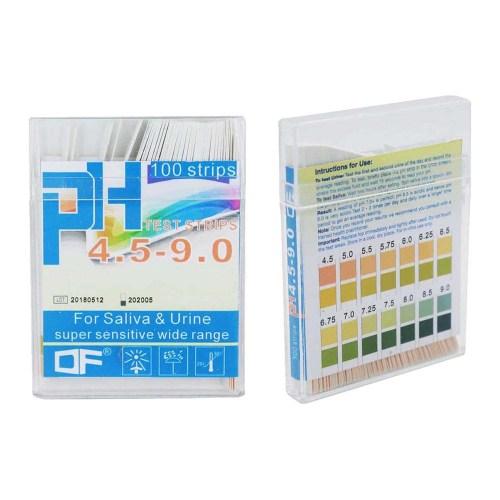 Tiras pH para saliva y orina 4.5 – 9.0 / 100 tiras x caja