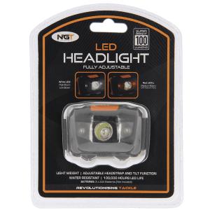 NGT LED linterna frontal cabeza con luz blanca y roja 100 lumens - NGT LED linterna frontal cabeza con luz blanca y roja 100 lumen