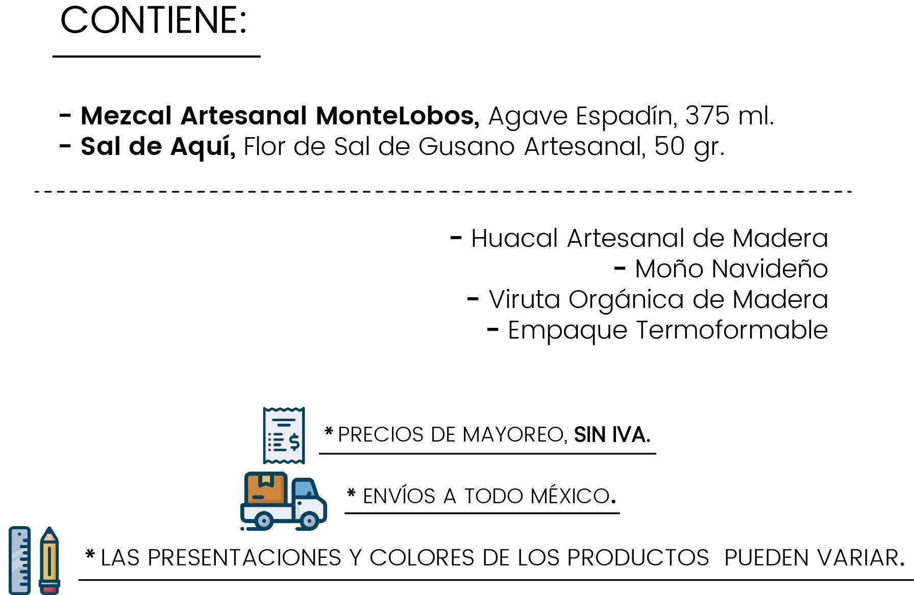 Contenido Huacal Montelobos by Tienda de Canastas