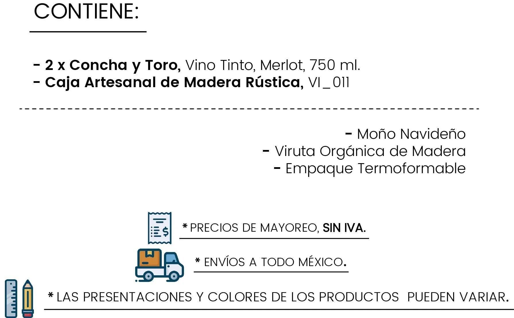 Contenido Caja Rústica con dos Tintos by Tienda de Canastas