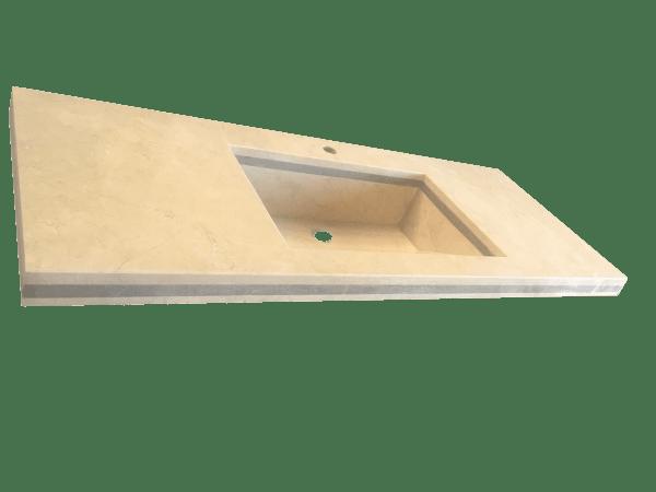 Encimera de baño con lavabo de mármol modelo EN120 en color crema marfil 2