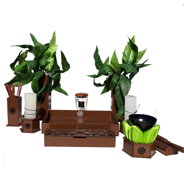Altar budista Soka marrón con gong chico