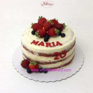 Pastel Red velvet con frutas seminaked nombre edad