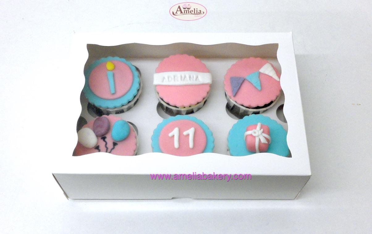 Caja 6 cupcakes cumpleaños con nombre y edad