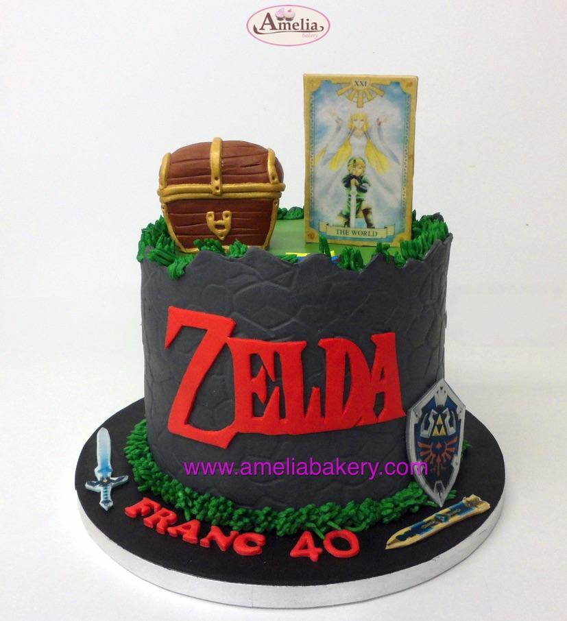 Tarta Fondant Zelda con Arcón y Escudo Amelia Bakery