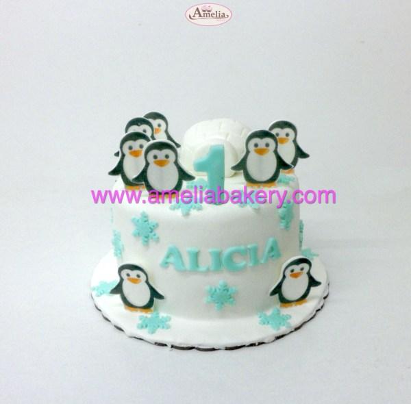 tarta pinguinos oblea 3d iglú