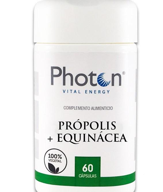Própolis + Equinacea Photon, cápsulas 100% vegetal de 692mg, ideal para aliviar síntomas de la gripe y el resfriado común.