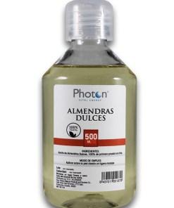 Almendras Dulces Photon, aceite 100% vegetal, que actúa como emoliente aportando elasticidad y suavidad a la piel.