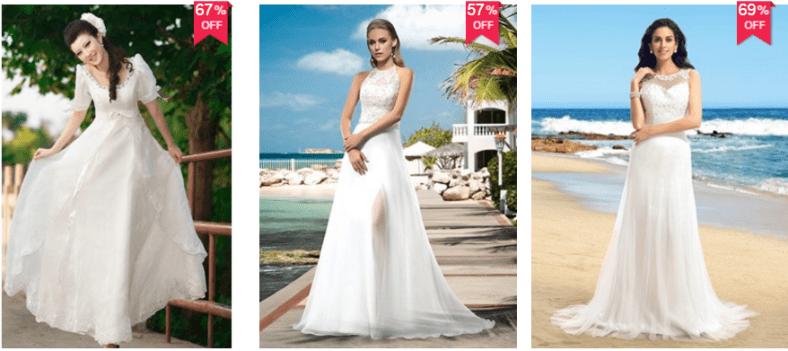 vestidos de novia baratos para casarse en la playa