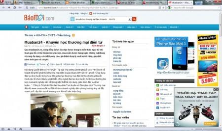 Báo Dantri đưa tin về MuaBan24 (đã bị xóa trên site của Dantri) - bài thứ hai