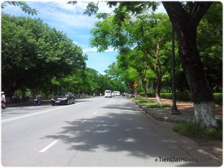 Con đường Kim Long xanh mát, rợp bóng cây.