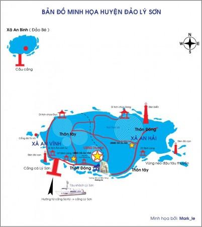 Bản đồ minh họa Huyện đảo Lý Sơn. Nguồn: lyson.org
