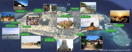 Bản đồ Google Maps của Đảo lớn Lý Sơn và các điểm thăm quan. Nguồn: cungphuot.info