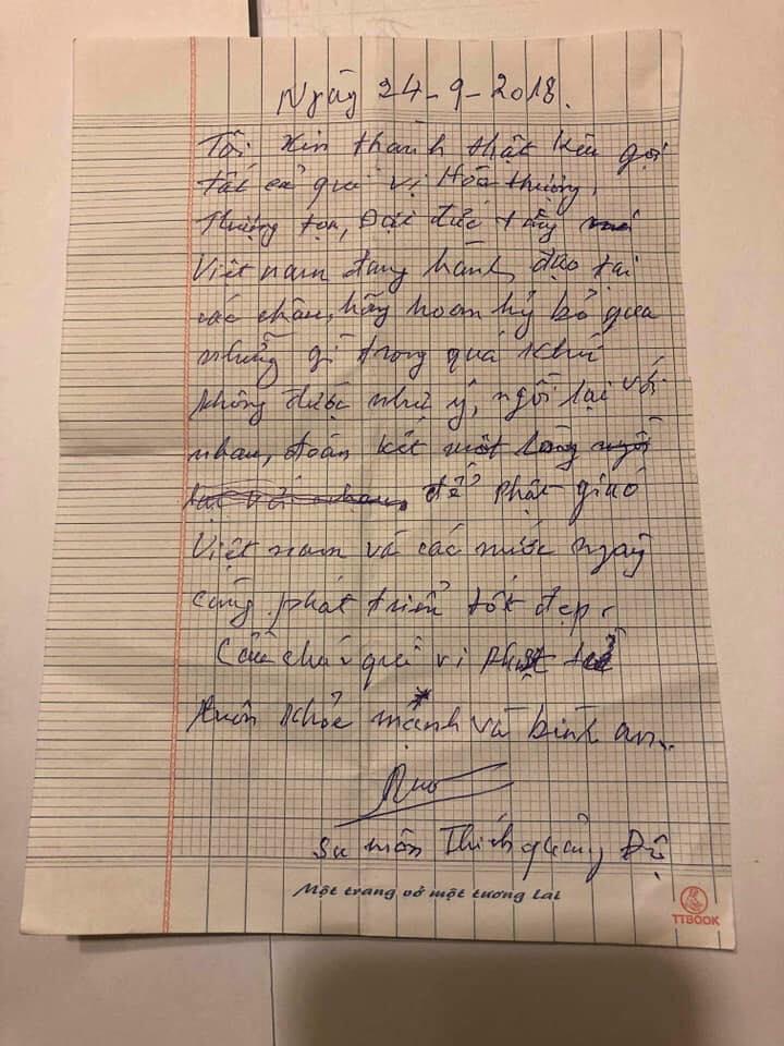 TT Thích Vĩnh Phước: Video vấn an Đức Tăng Thống GHPGVNTN Trưởng Lão HT Thích Quảng Độ ngày 9/10/2028