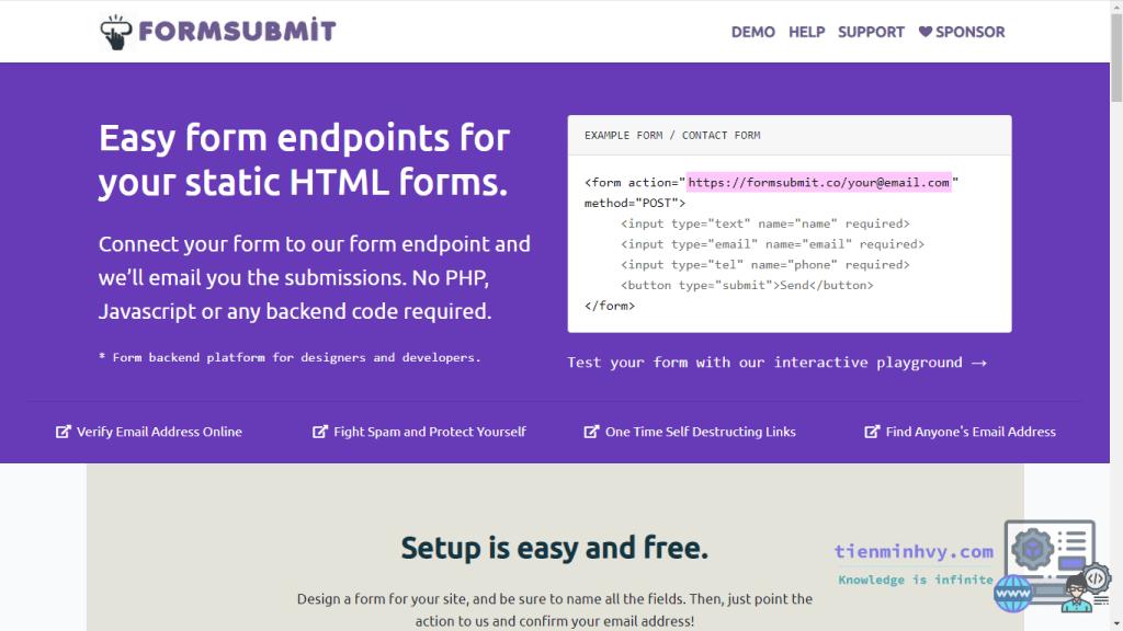FormSubmit, tạo form không dùng backend
