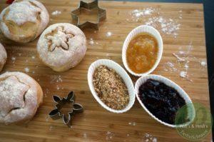 Sternenstaub-Brötchen,Punsch Marmelade, Bratapfel-StreuMix, Orangen-Ingwer Marmelade