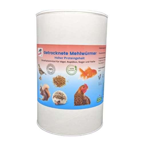 getrocknete Mehlwürmer in einer Dose für Vögel und Reptilien Nager und Fische