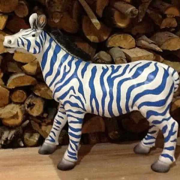 Deko Zebra Blau Weiss