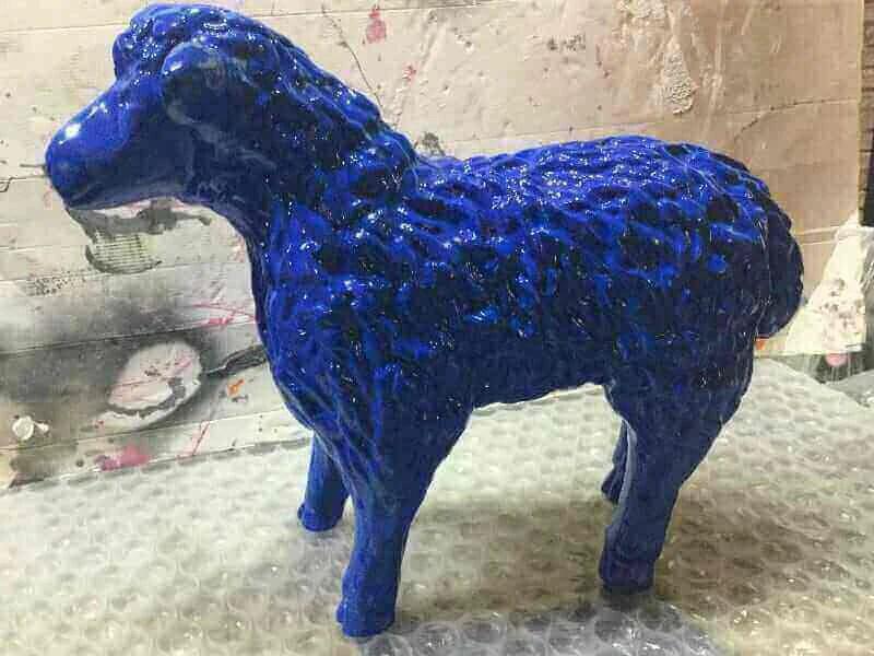 Deko Lamm in blau