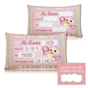 Almohada personalizada Tarta de pañales rubí niña