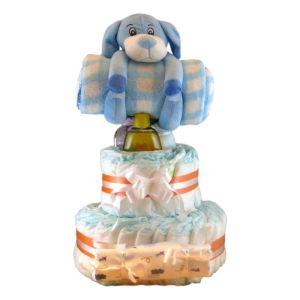 tarta de pañales niño con 5 accesorios
