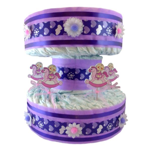 tarta de pañales carrusel tiovivo niña