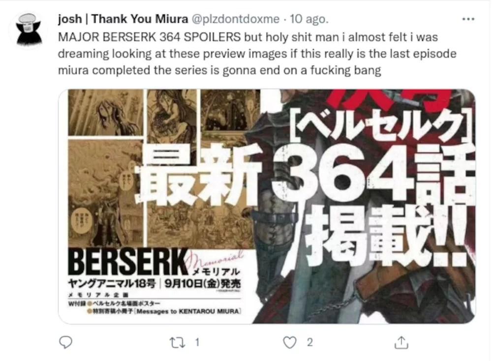 Berserk Nuevo Capitulo Reaccion Twitter 09