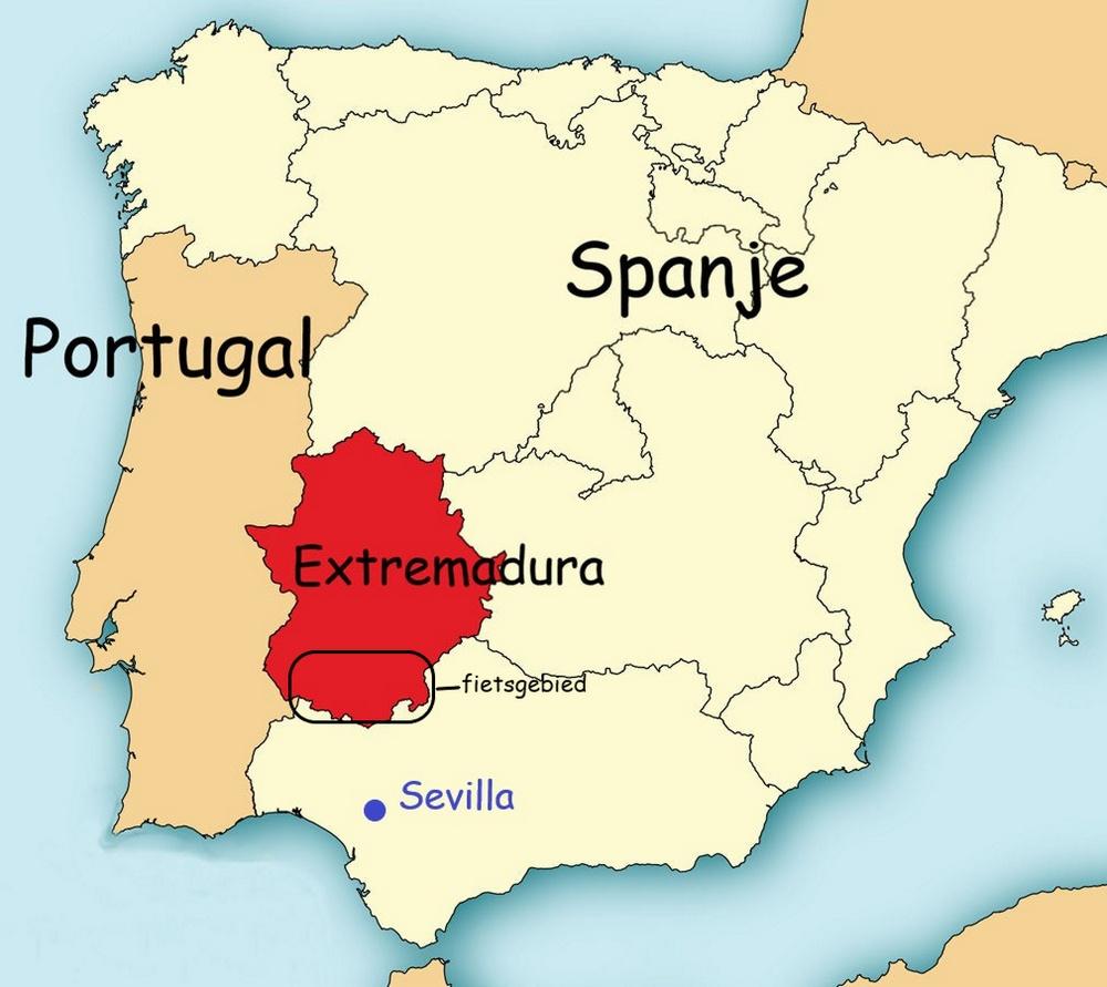 Het fietsgebied na de stedentrip Sevilla ligt in het zuiden van Extremadura