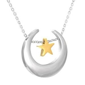colgante estrella con media luna en plata