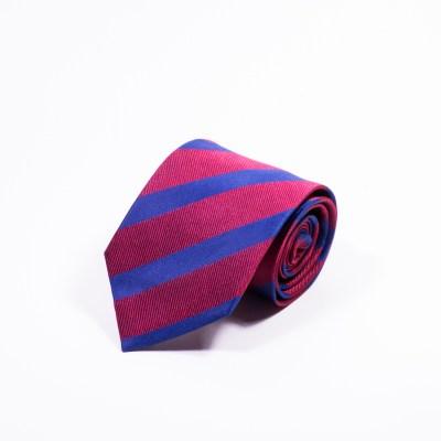 Gestreepte Stropdas Rood-Blauw