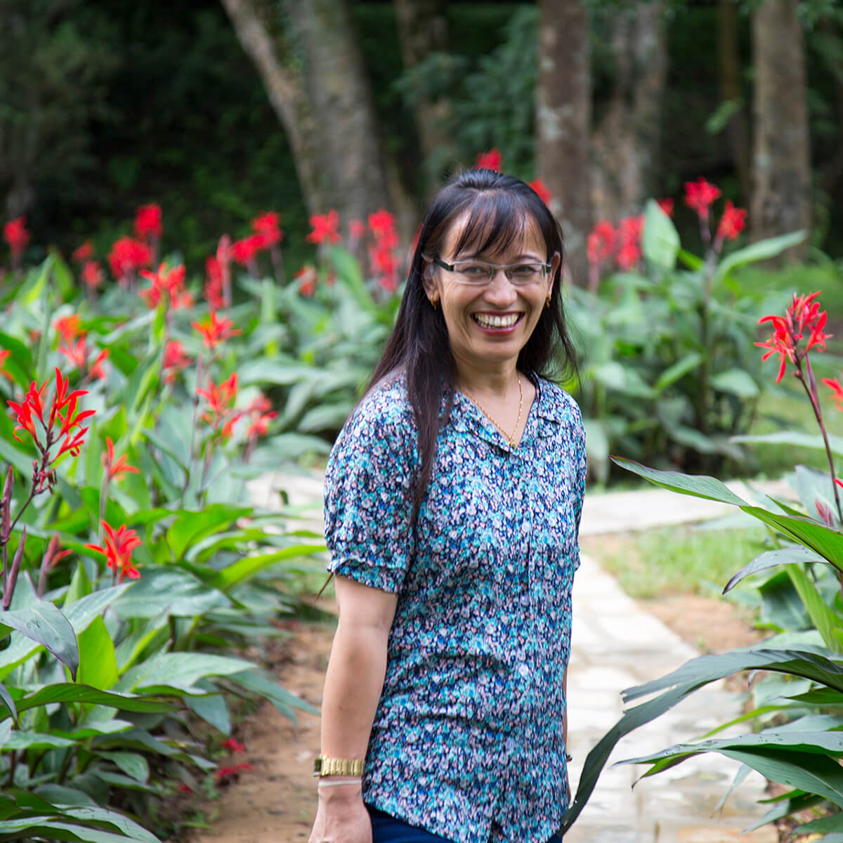 Abha Awale during the botanical gardens visit.