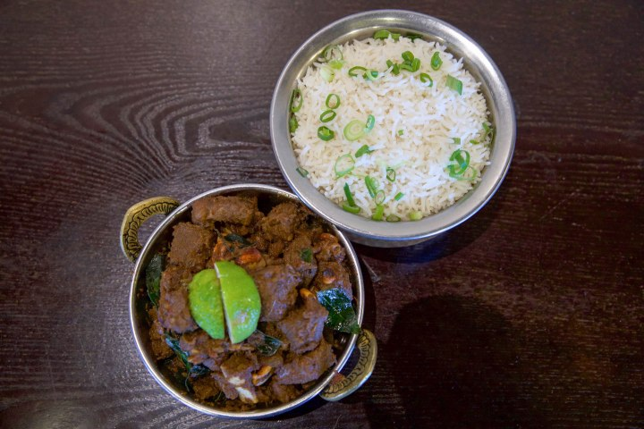 Mutton Sukka with Rice