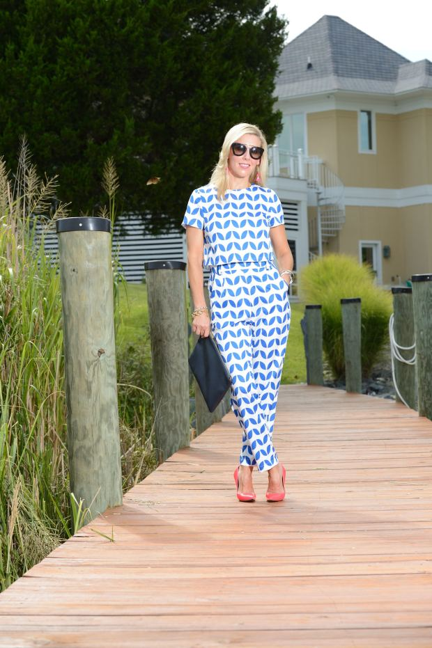 SheIn Blue Print Pants and Top