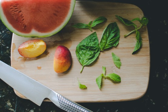 This morning, I made a yellow nectarine & watermelon smoothie with fresh mint & basil.