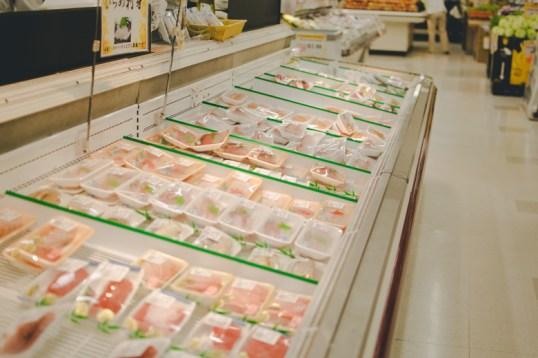 The aisle of fresh sashimi at Marukai.