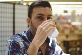 Man drinks water.