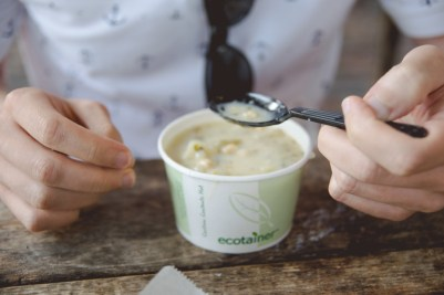 Josh can't get enough Clam Chowder, oh & look! It's in an environmentally friendly cup.