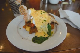 Holy shenanigans. Best brunch of my life. Pan-fried cheesy grits cut into triangles, pan-seared catfish with cherry tomatoes & spinach, lightly grilled shrimp on a skewer, topped with perfectly poached eggs & a creole hollandaise. The ultimate fusion of Southern + creole + French cuisine.