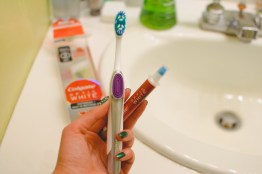 Got a free toothbrush from Influenster, so I was trying it out the first time.