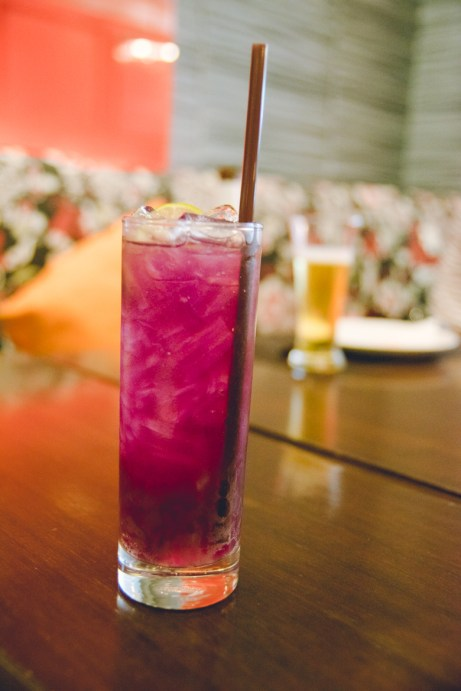 Iced Butterfly Pea Tea. Originally the color is blue until lemon is added, which changes its color to purple.