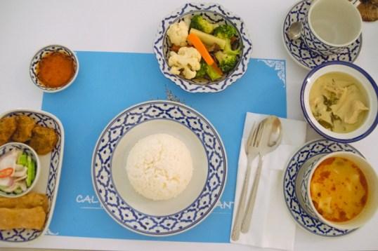 Pre-fixed Calypso menu spread.