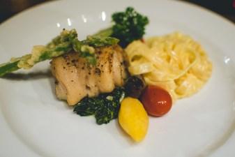 Steamed fish & pasta.