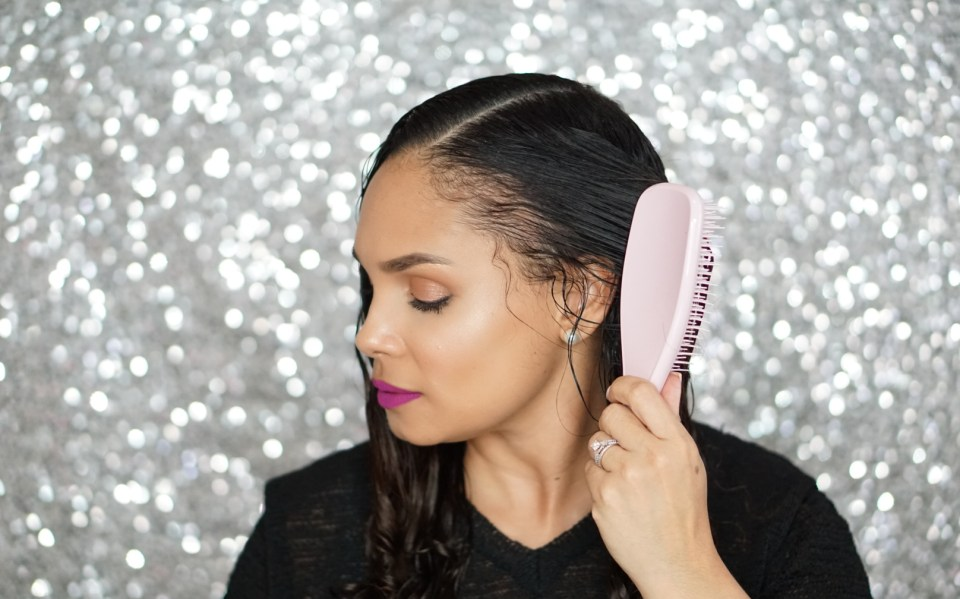 Tangle Teezer Brush On Long Curly Hair-Detangling Process-Tiffany D. Brown