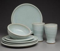 Pale blue dinnerware
